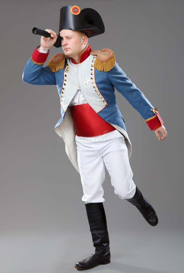 Acteur habillé comme napoléon. photo stock