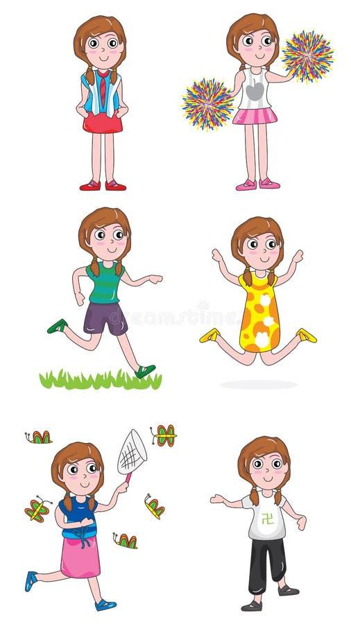 Actief Meisje Set_eps vector illustratie