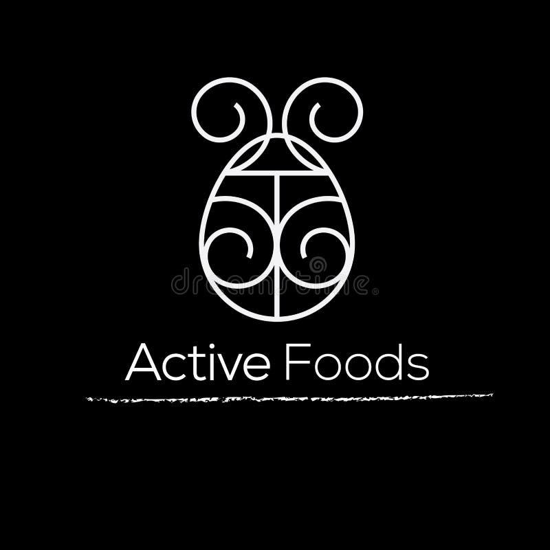 Actief voedsel vectorembleem Voedingsembleem Dieetembleem Gezond voedselembleem royalty-vrije illustratie