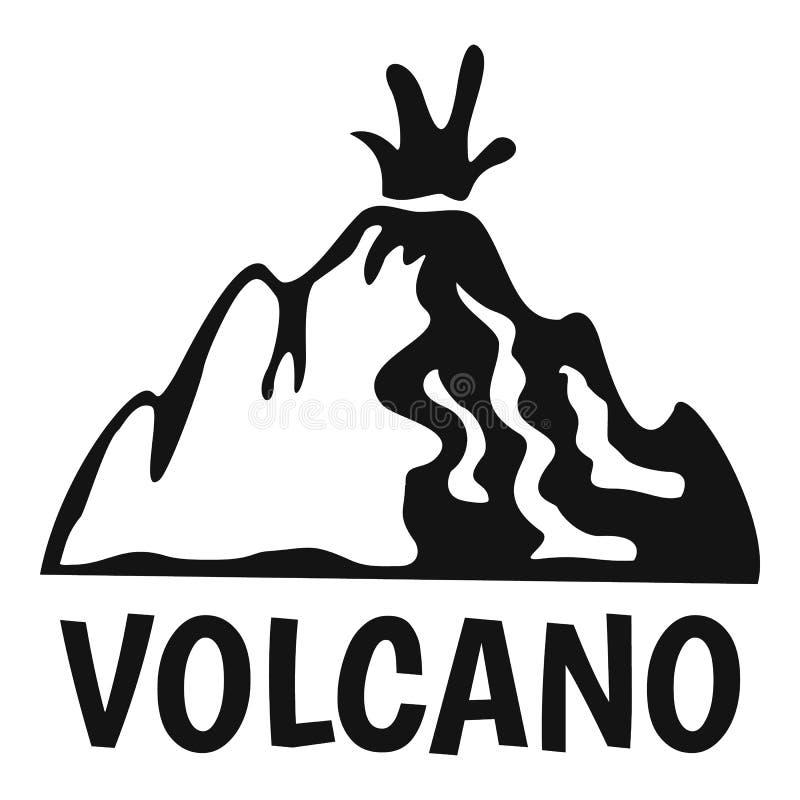 Actief vulkaanembleem, eenvoudige stijl vector illustratie