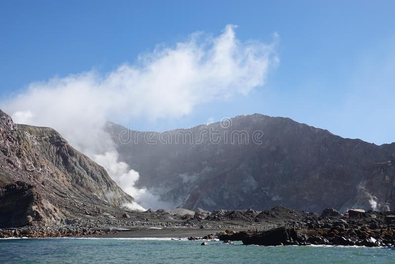 Actiefste vulkaan van Nieuw Zeeland de, Whakaari of Wit Eiland stock foto's