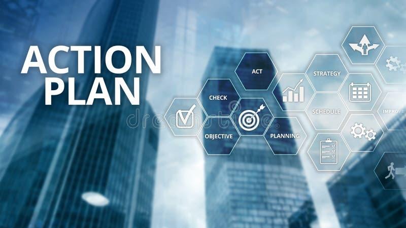 Actieplanstrategie de Richting van de Planningsvisie Financieel concept op vage achtergrond stock illustratie