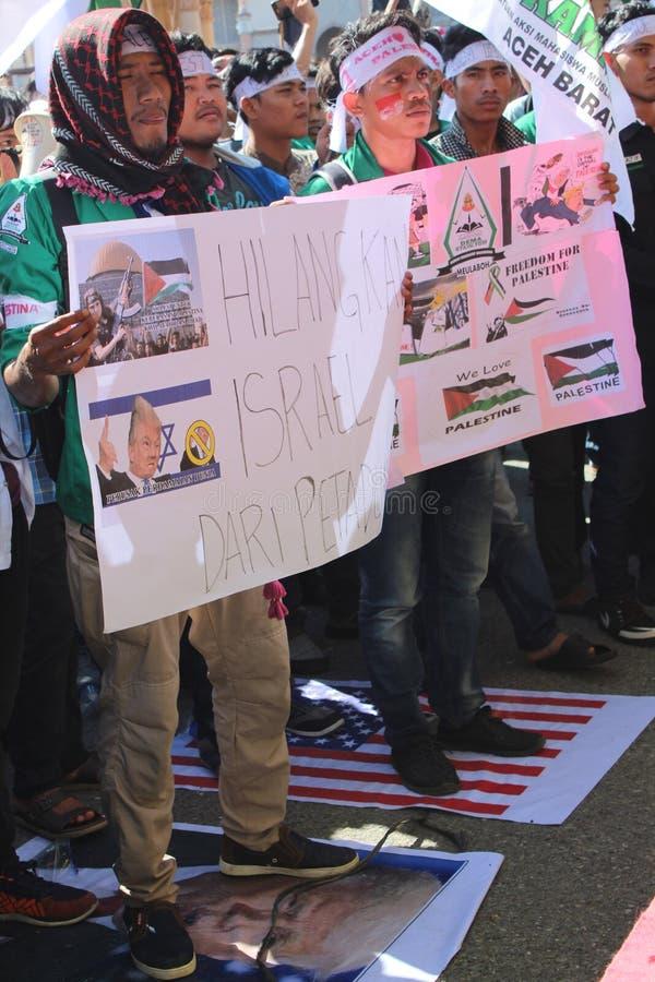 Actiesolidariteit aceh barat voor palestin stock afbeeldingen
