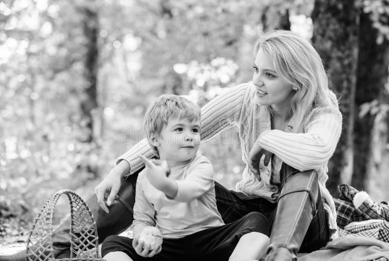 Actieve dag zonnig weer Gezond voedsel Moederliefde haar klein jongenskind Familie van vier in het de herfstbos De dag van moeder royalty-vrije stock fotografie