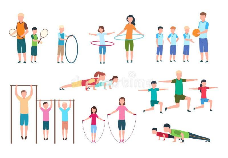 Actieve familie Mensen, jonge geitjes die geschiktheidsoefeningen doen De vector vlakke karakters van de sportenlevensstijl royalty-vrije illustratie