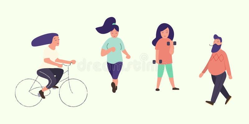 Actieve mensen Gezonde Levensstijl Reeks vector vlakke beeldverhaalkarakters Het lopen, fiets, lopende man en vrouw royalty-vrije illustratie