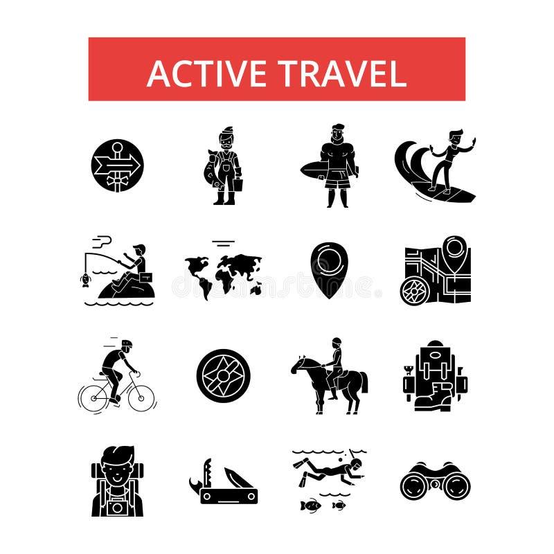 Actieve reisillustratie, dunne lijnpictogrammen, lineaire vlakke tekens, vectorsymbolen stock illustratie