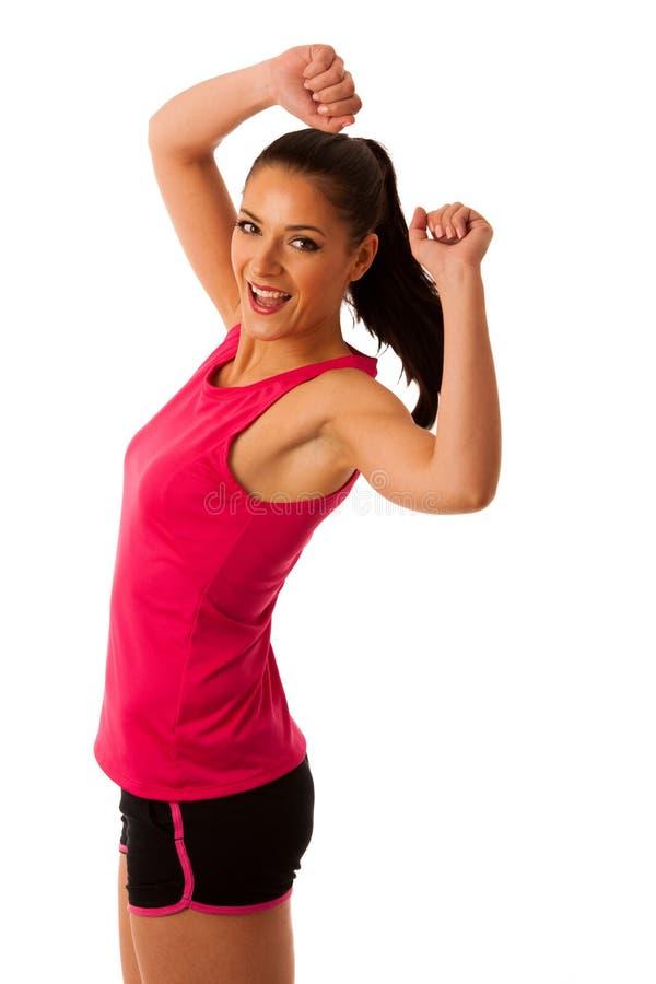 Actieve vrouw die aerobics voor het cardio opleiding dansen doen royalty-vrije stock afbeeldingen
