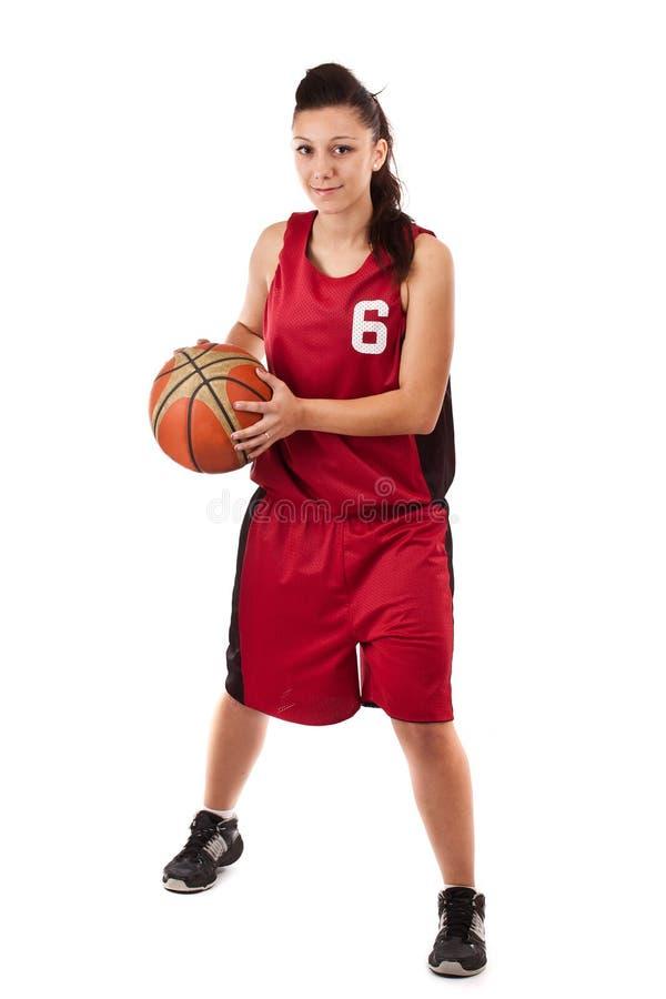 Actieve vrouwelijke basketbalspeler royalty-vrije stock foto's