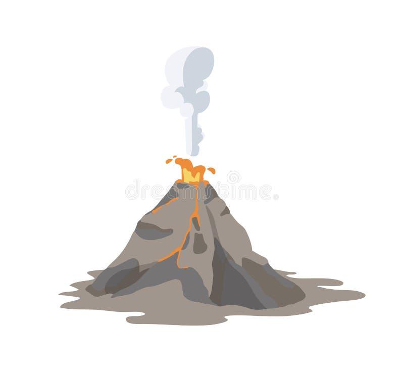 Actieve vulkaan die en rook, aswolk en lava uitzenden losbarsten die op witte achtergrond wordt geïsoleerd Spectaculaire vulkanis royalty-vrije illustratie