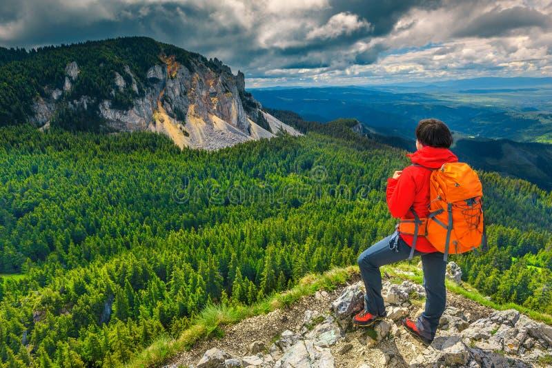 Actieve wandelaarvrouw op de bovenkant van berg, Transsylvanië, Roemenië stock fotografie