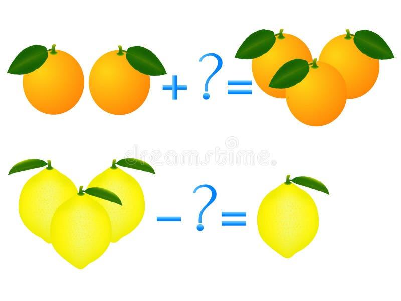 Actieverhouding van toevoeging en aftrekking, voorbeelden met citroenen en sinaasappelen Onderwijsspelen voor kinderen royalty-vrije illustratie