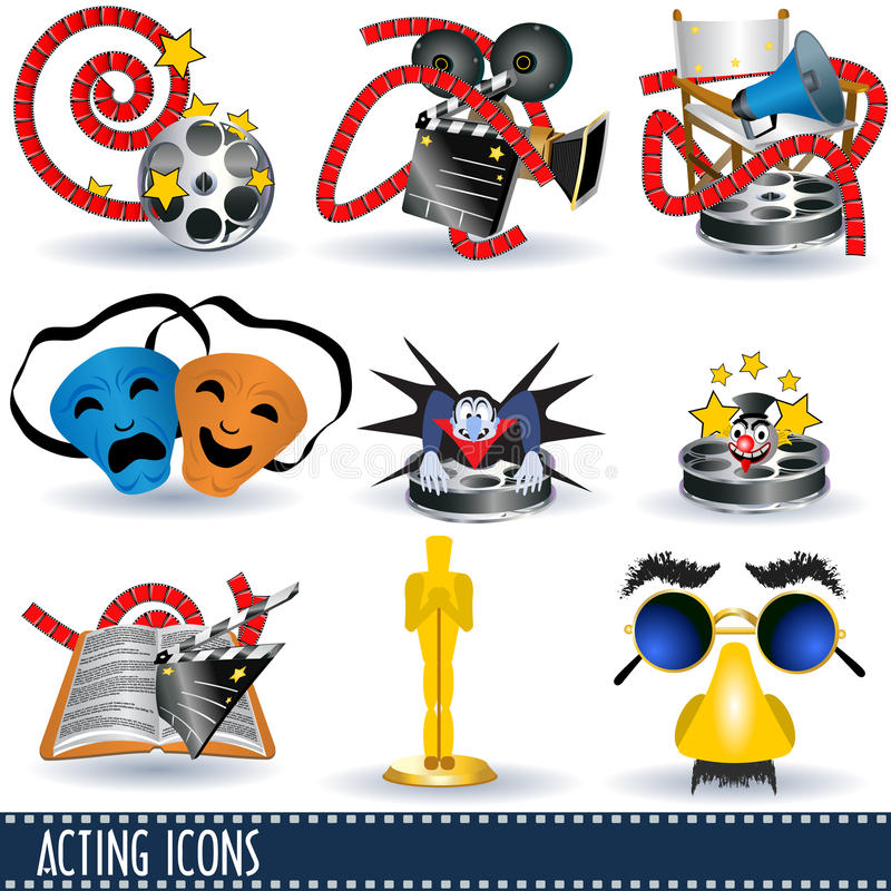 Acting icons. A collection of nine different acting icons illustration vector illustration