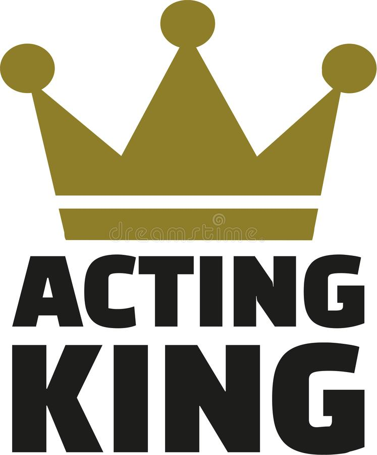 Acting King crown. Golden vector royalty free illustration