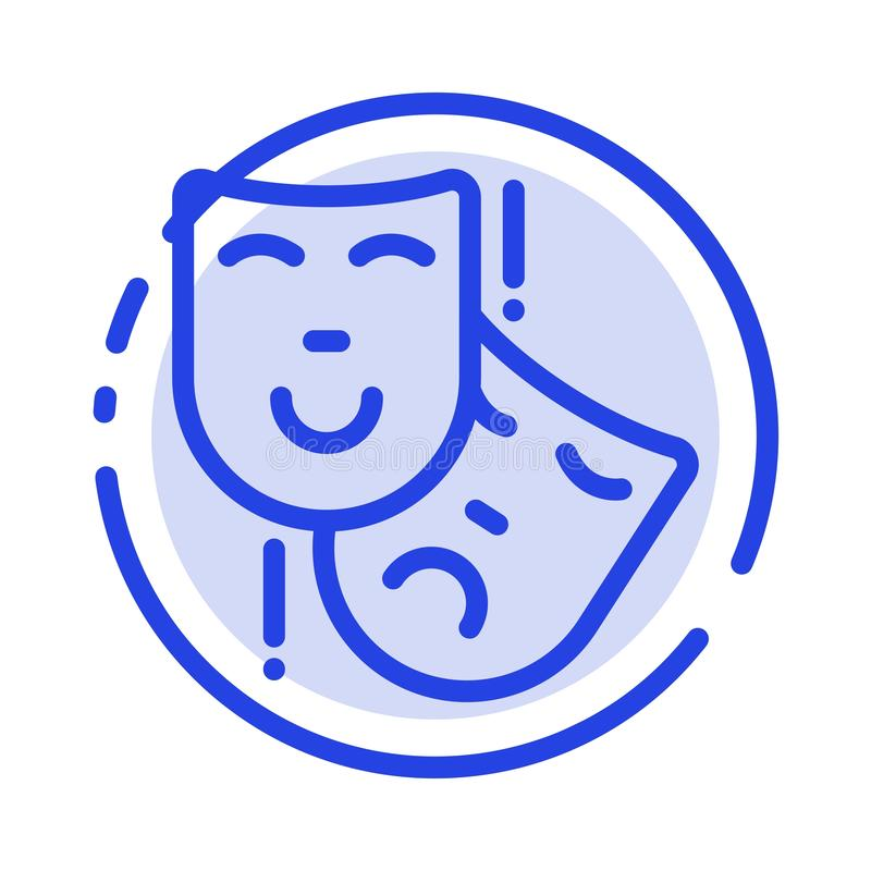 Acting, Masks, Persona, Theater Blue Dotted Line Line Icon royalty free illustration