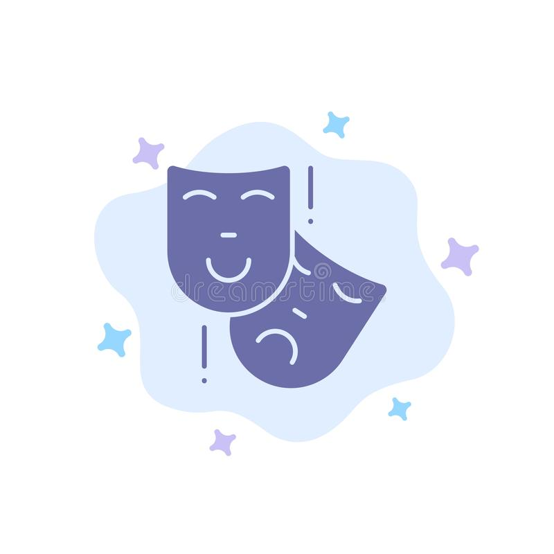 Acting, Masks, Persona, Theater Blue Icon on Abstract Cloud Background vector illustration