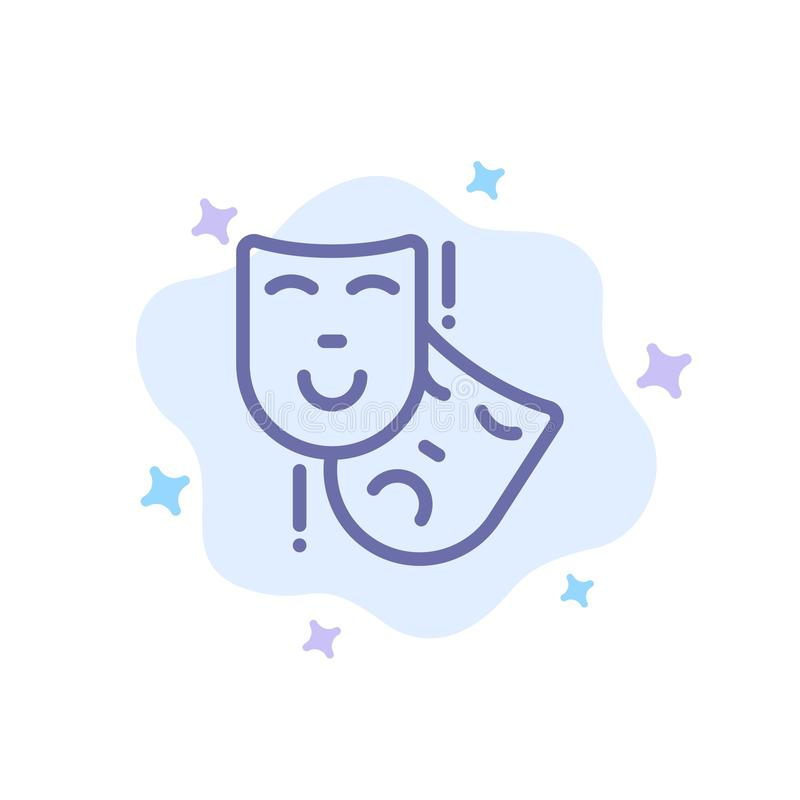 Acting, Masks, Persona, Theater Blue Icon on Abstract Cloud Background royalty free illustration
