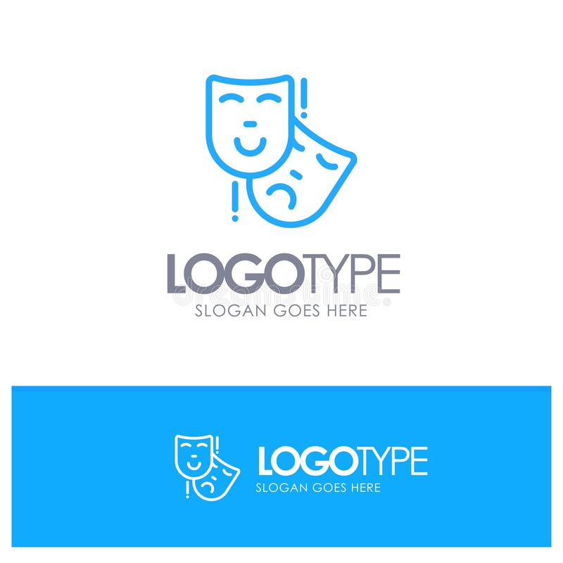 Acting, Masks, Persona, Theater Blue Outline Logo Place for Tagline royalty free illustration