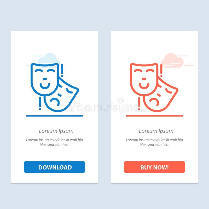 Acting, Masks, Persona, Theater  Blue and Red Download and Buy Now web Widget Card Template vector illustration