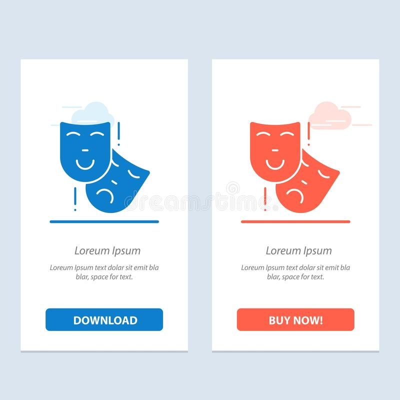 Acting, Masks, Persona, Theater  Blue and Red Download and Buy Now web Widget Card Template royalty free illustration