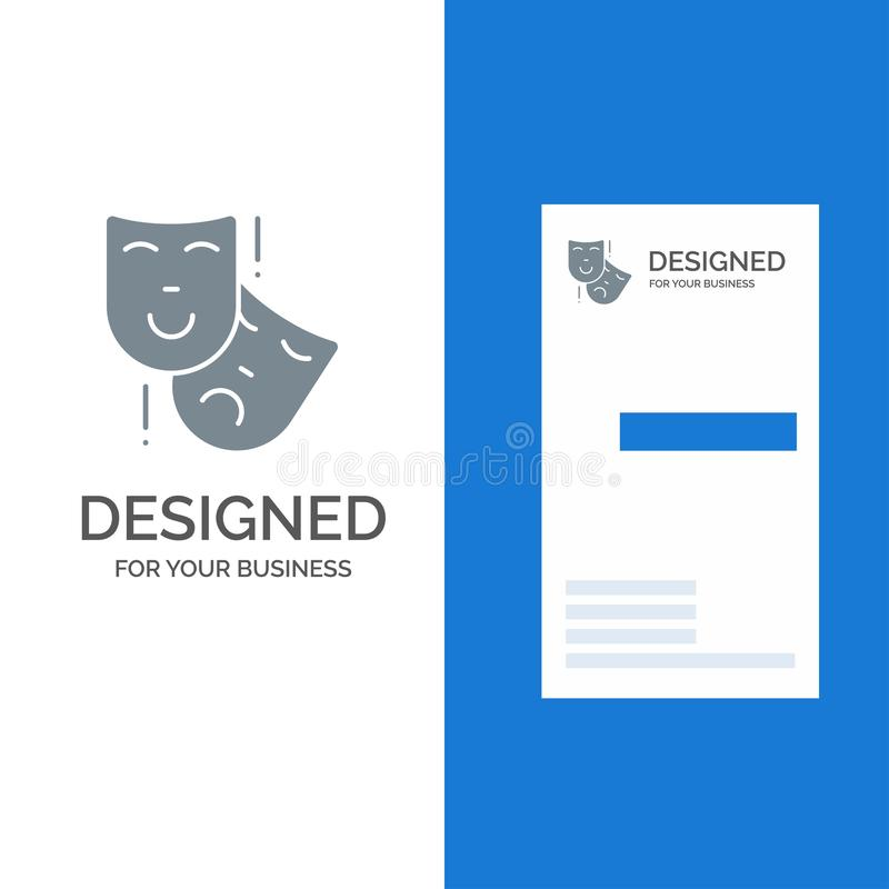 Acting, Masks, Persona, Theater Grey Logo Design and Business Card Template stock illustration
