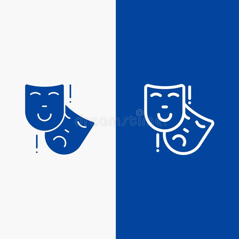 Acting, Masks, Persona, Theater Line and Glyph Solid icon Blue banner Line and Glyph Solid icon Blue banner vector illustration