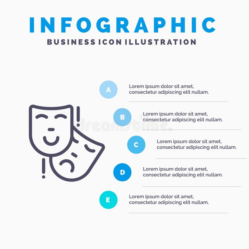 Acting, Masks, Persona, Theater Line icon with 5 steps presentation infographics Background royalty free illustration
