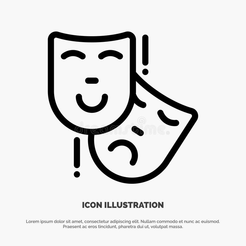Acting, Masks, Persona, Theater Line Icon Vector stock illustration