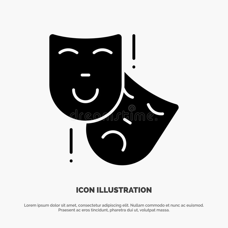 Acting, Masks, Persona, Theater solid Glyph Icon vector stock illustration