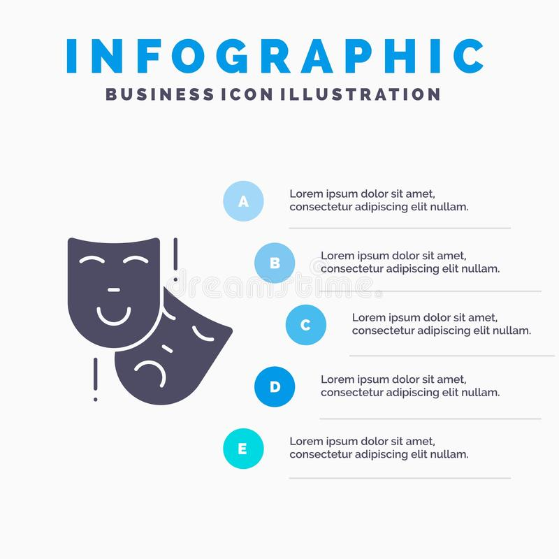 Acting, Masks, Persona, Theater Solid Icon Infographics 5 Steps Presentation Background vector illustration