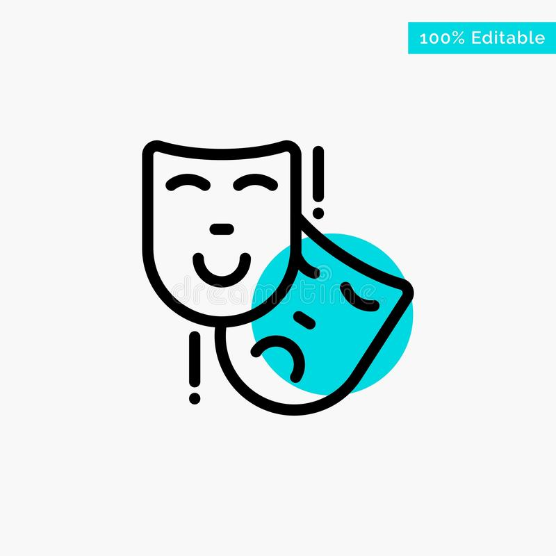 Acting, Masks, Persona, Theater turquoise highlight circle point Vector icon royalty free illustration