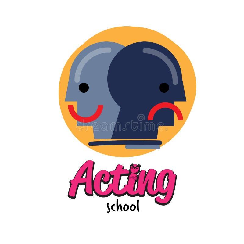 Acting school logo design - vector. Illustration stock illustration