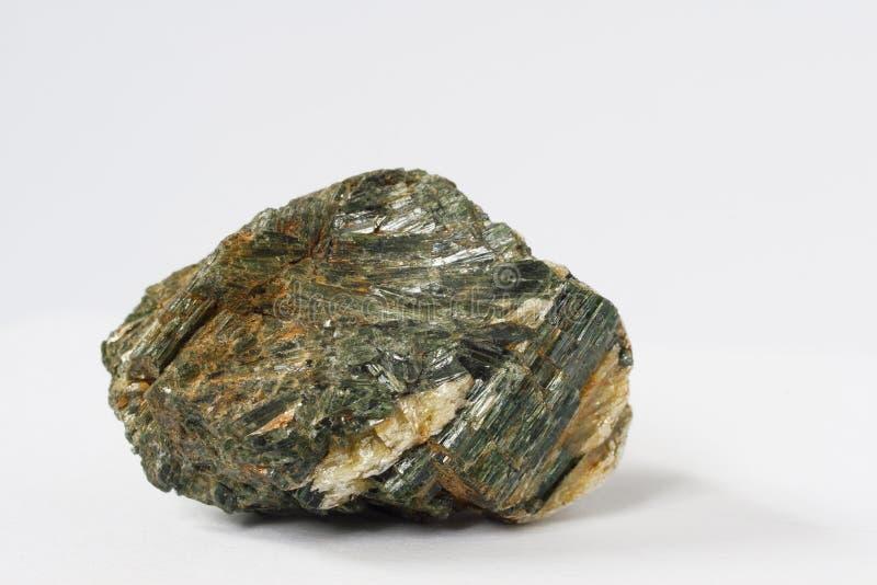 Actinolite mineral on white background royalty free stock photos