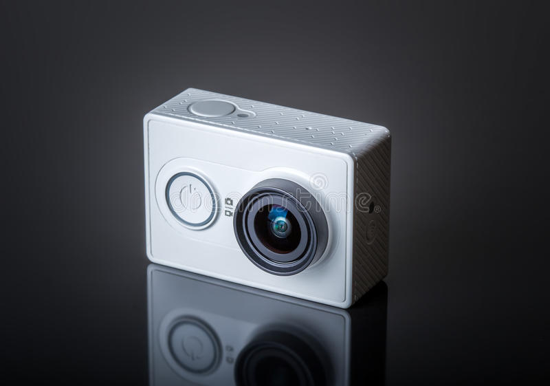 Action camera. On dark background royalty free stock images