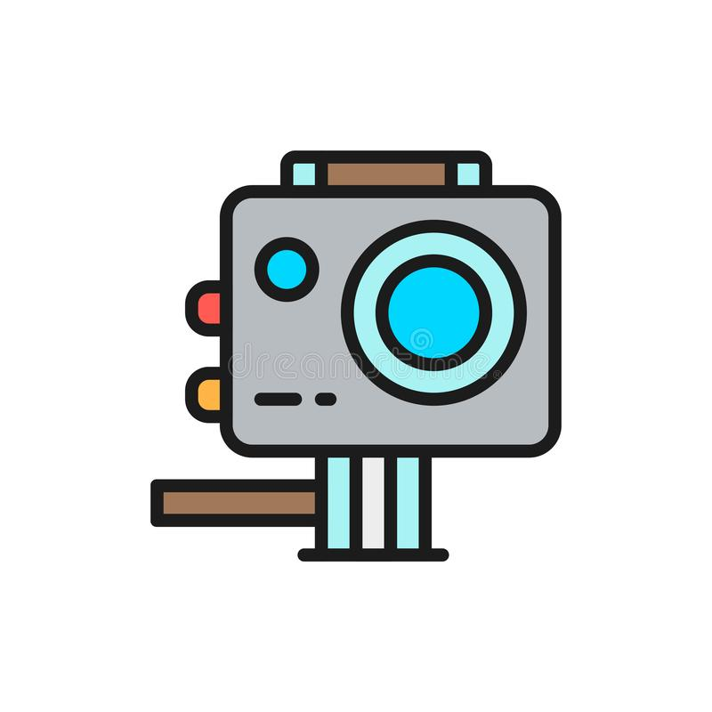 Action camera, extreme video cam flat color line icon. vector illustration