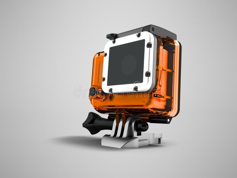 Action camera in an orange case for helmet mount 3d render on gr stock illustration