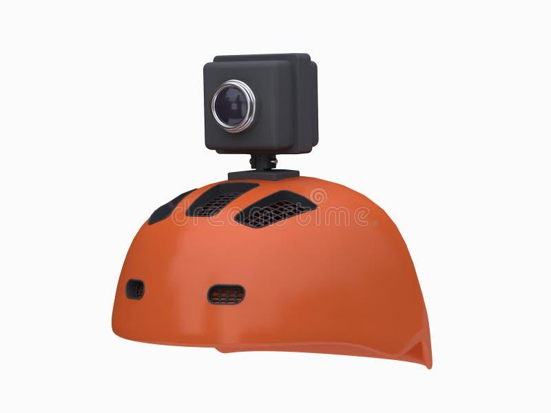 3d action camera on orange helmet white background 3d rendering royalty free illustration