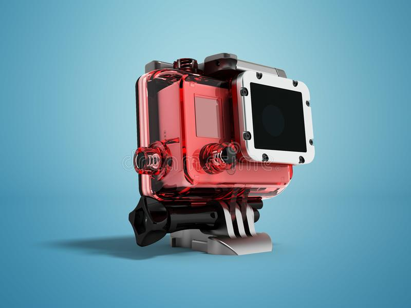 Action camera for shooting in water in a case of durable glass o. N the left with a foot for attachment stock illustration