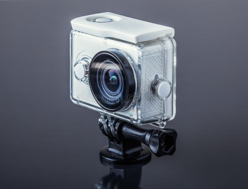 Action camera. In waterproof case stock images