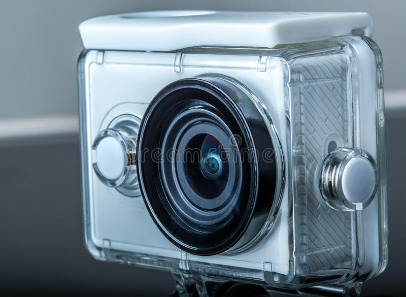 Action camera. In waterproof case royalty free stock photo