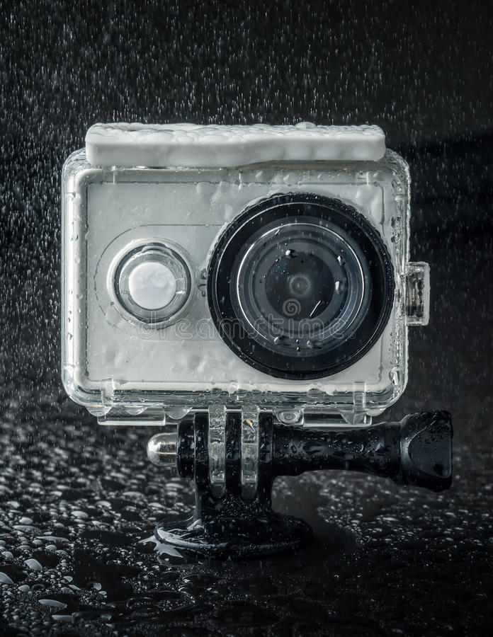 Action camera. In waterproof case stock photography