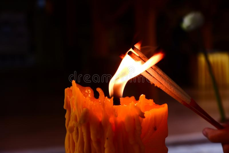 The action of candle light. royalty free stock image