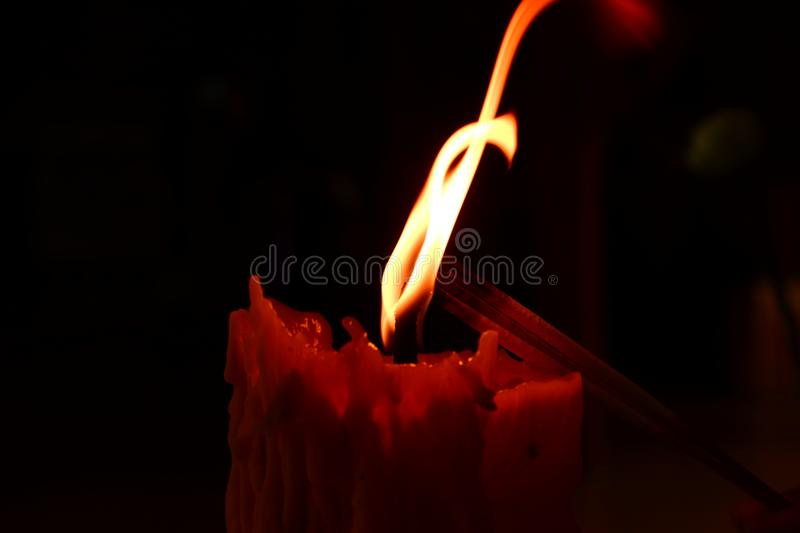 The action of candle light. royalty free stock images