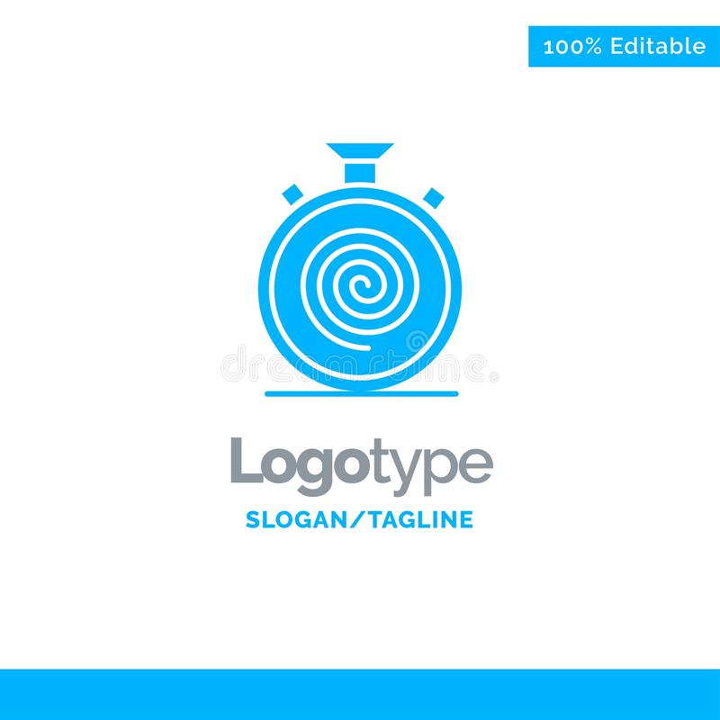 Action, Cycle, Flow, Nonstop, Slow Blue Solid Logo Template. Place for Tagline stock illustration