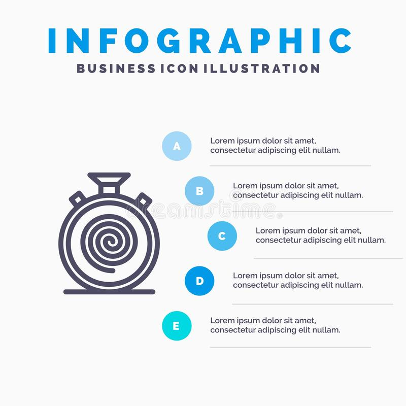 Action, Cycle, Flow, Nonstop, Slow Line icon with 5 steps presentation infographics Background stock illustration