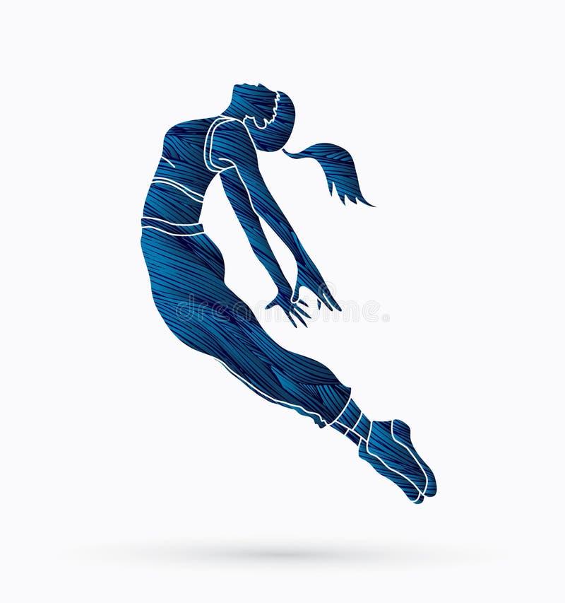 Action de danse, vecteur de graphique de formation de danseur illustration stock