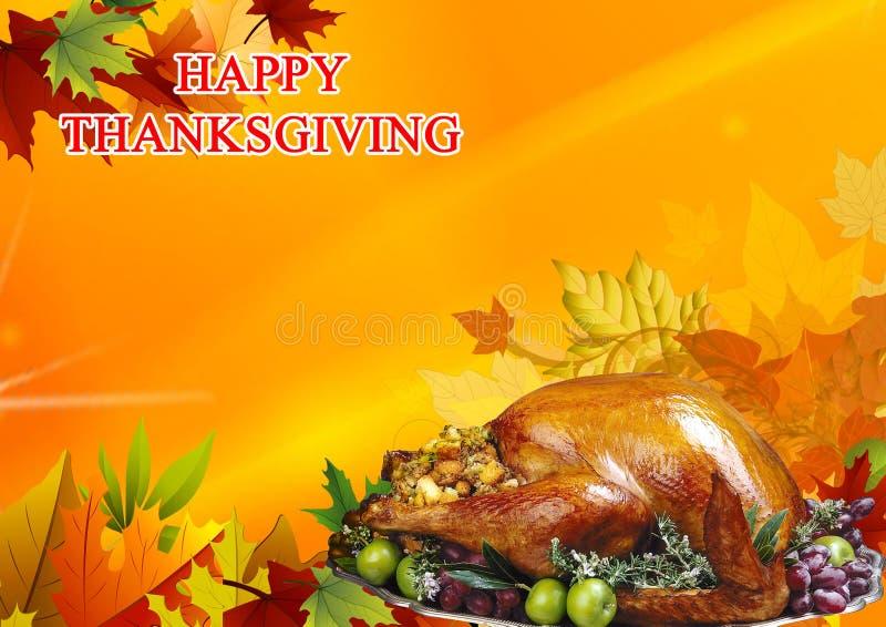 Action de grâces heureuse Collage des feuilles d'automne colorées, le Turke illustration stock