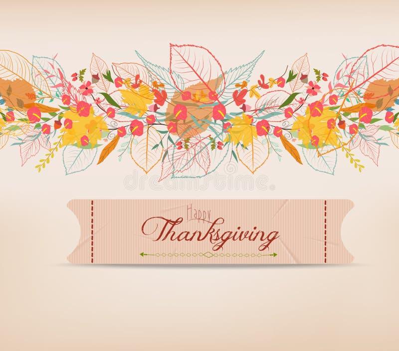 Action de grâces heureuse Fond des feuilles d'automne stylisées pour la carte de voeux illustration libre de droits