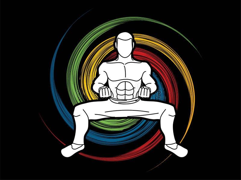 Action de Kung Fu d'homme prête à combattre le graphique illustration de vecteur