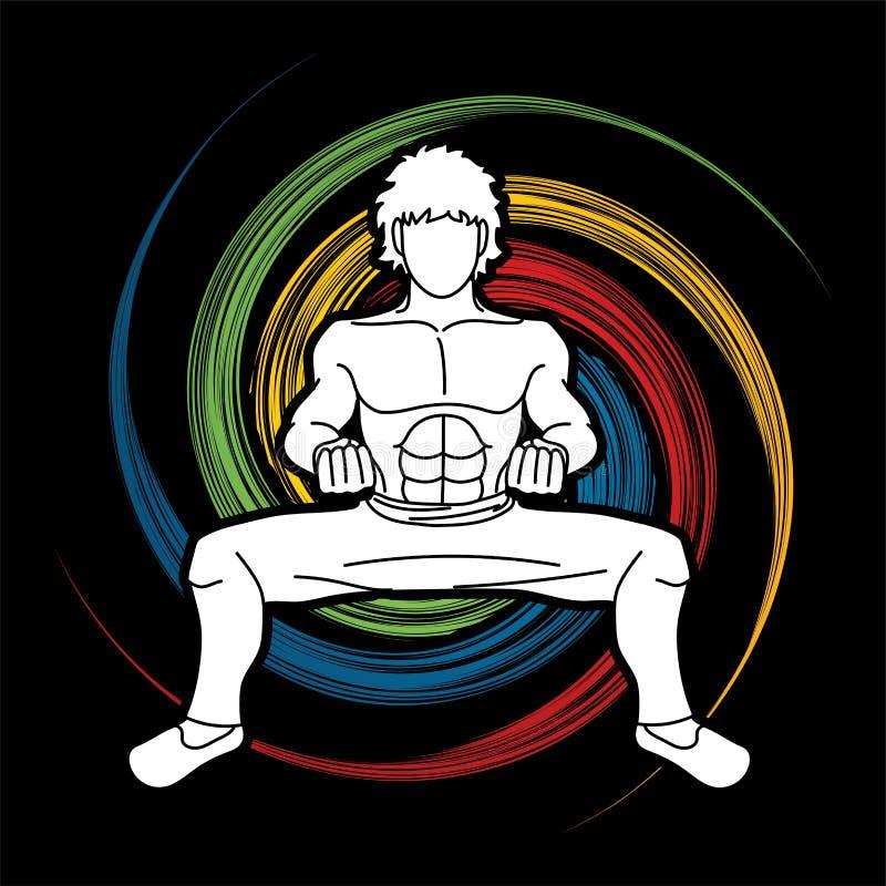 Action de Kung Fu d'homme prête à combattre le graphique illustration stock